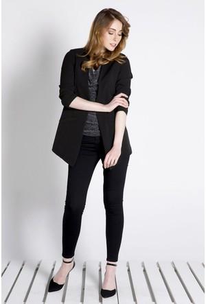 Sofistiqe Siyah Flatolu Ceket
