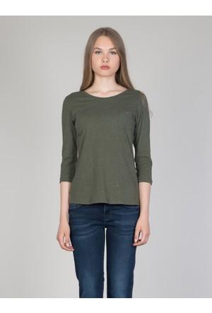 Colin's Haki Kadın T-Shirt Uzun Kol
