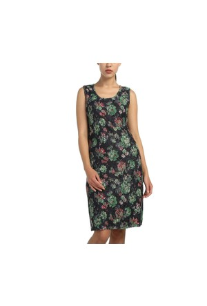 Lir Büyük Beden Kadın Çıtır Desenli Kolsuz Elbise 1171