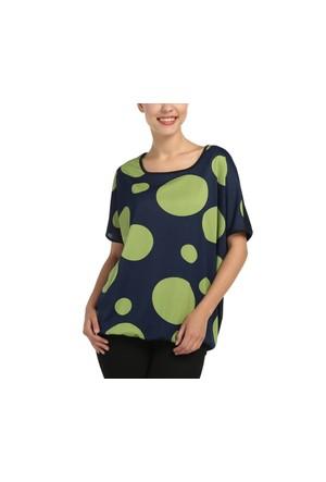 Lir Büyük beden İri Puanlı Kadın Yeşil Tunik 3152