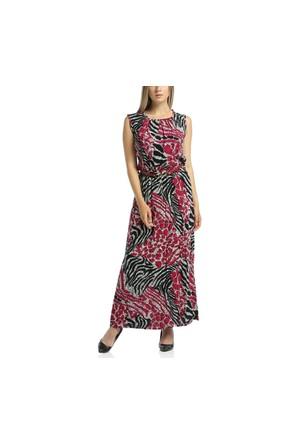 Lir Büyük Beden Kadın Desenli Kolsuz Elbise 1185