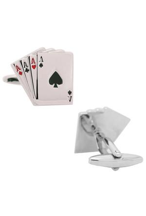 Chavin Maça Ası Oyun Kağıdı Çelik Kol Düğmesi i40