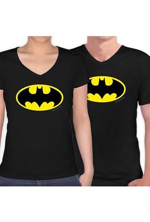 BuldumBuldum Batman Sevgili T-Shirt - Siyah V Yaka