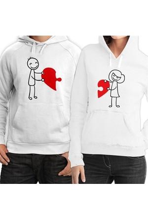 BuldumBuldum Kapşonlu Sevgili Sweatshirtleri - Beyaz - Birleşen Kalpler