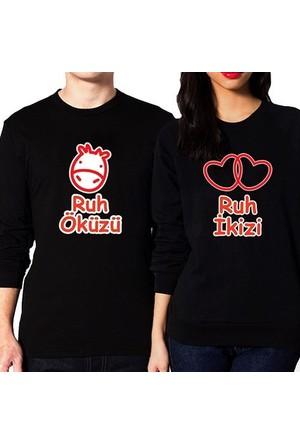 BuldumBuldum Sevgili Sweatshirtleri - Siyah - Ruh İkizi