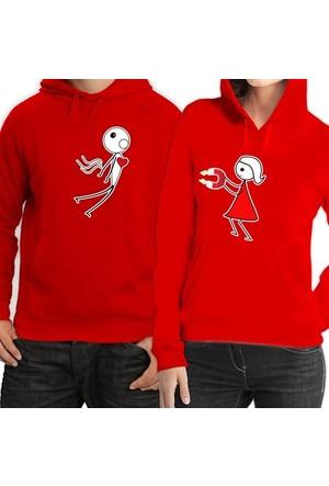 BuldumBuldum Kapşonlu Sevgili Sweatshirtleri - Kırmızı - Aşkın Çekim Gücü