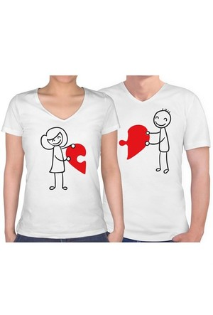 BuldumBuldum Sevgili T-Shirt - Beyaz V Yaka - Birleşen Kalpler