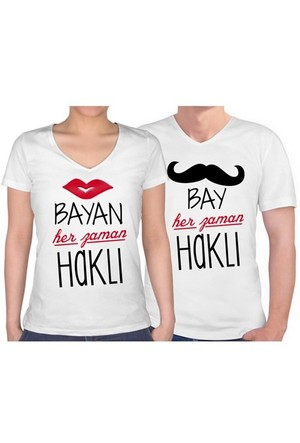 BuldumBuldum Sevgili T-Shirt - Beyaz V Yaka - Bay Bayan Haklı