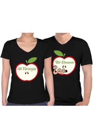 BuldumBuldum Sevgili T-Shirt - Siyah V Yaka - Bir Elmanın İki Yarısıyız