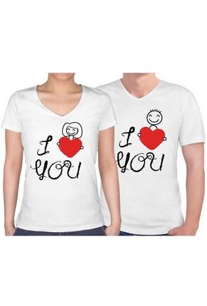 BuldumBuldum Sevgili T-Shirt - Beyaz V Yaka - Çöp Adam Aşkı