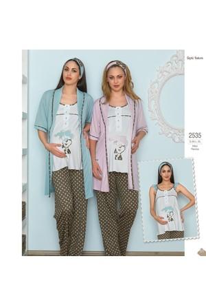 BH2535 Baha 3 lü Lohusa Pijama Takımı BH2535 041