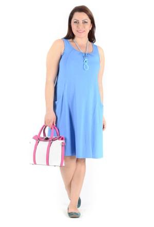 Tepa Mavi Cepli Elbise