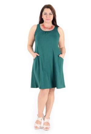 Tepa Koyu Yeşil Cepli Elbise