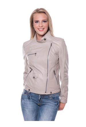 B09218 Bej Bayan Deri Ceket