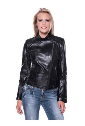 B09218 Siyah Bayan Deri Ceket