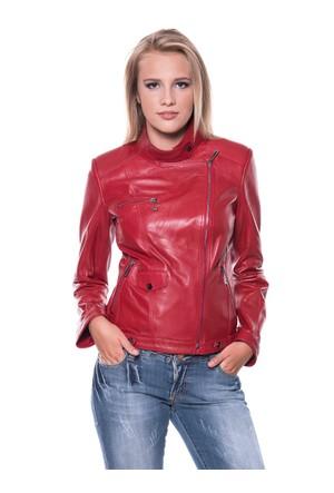 B09218 Kırmızı Bayan Deri Ceket
