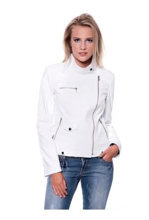 B09218 Beyaz Bayan Deri Ceket