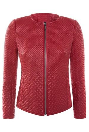 B264 Kırmızı Bayan Deri Ceket