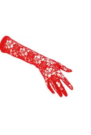 Toptancı Kapında Dantelli Gelin Eldiveni - Kırmızı Uzun
