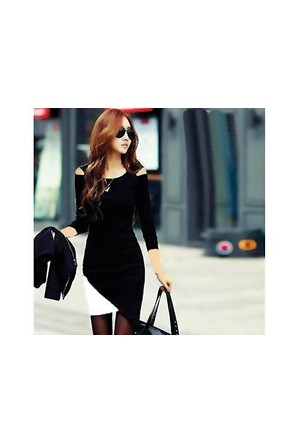 Toptancı Kapında Japon Style Bayan Elbise - Siyah