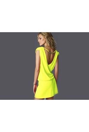 Toptancı Kapında Likralı Plaj Elbisesi - 1 Beden - Sarı