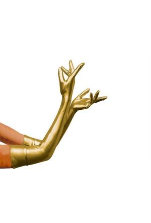 Toptancı Kapında Parlak Kumaş Eldiven - Gold