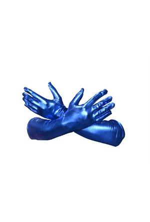 Toptancı Kapında Parlak Kumaş Eldiven - Mavi