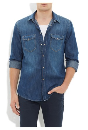 Mavi Andy Koyu Mavi Jean Gömlek
