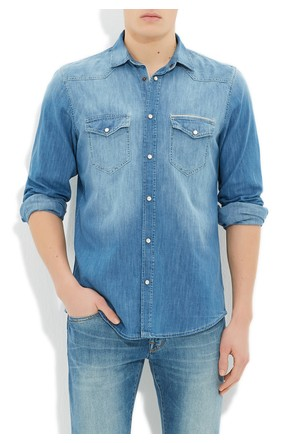 Mavi Andy Orta Mavi Amerika Jean Gömlek