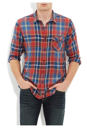 Mavi Kırmızı Kareli Cepsiz Gömlek