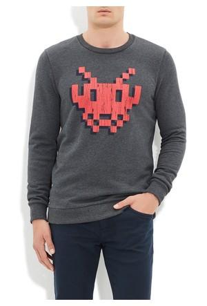 Mavi Füme Baskılı Sweatshirt