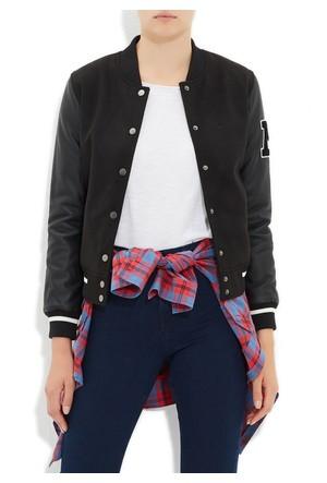 Mavi Siyah Ribana Detaylı Ceket