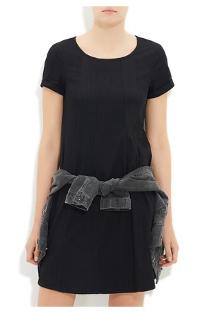 Mavi Siyah Kısa Kollu Elbise