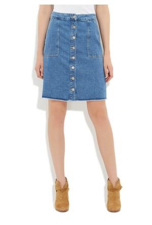 Mavi Benita Orta Mavi Retro Vintage Jean Etek