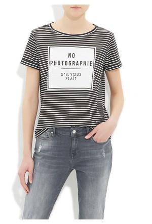 Mavi Siyah Baskılı T-Shirt
