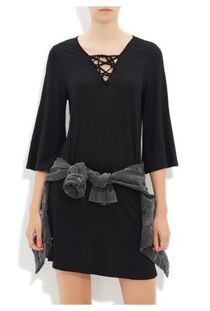 Mavi Siyah Kısa Kol Elbise