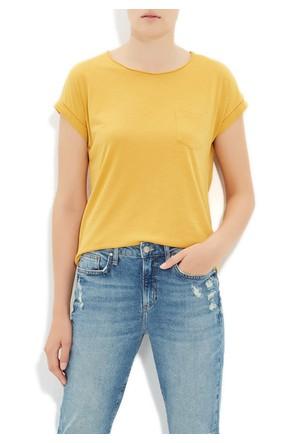 Mavi Koyu Hardal Basic T-Shirt