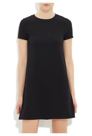 Mavi Siyah Örme Elbise
