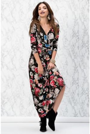 V Yaka Çiçek Desenli Uzun Elbise