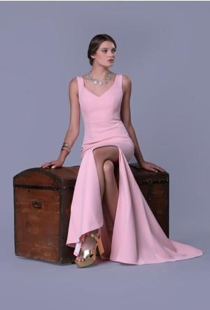 Pierre Cardin Yırtmaçlı Krep Elbise