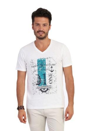 Kiğılı V Yaka Baskılı T-Shirt