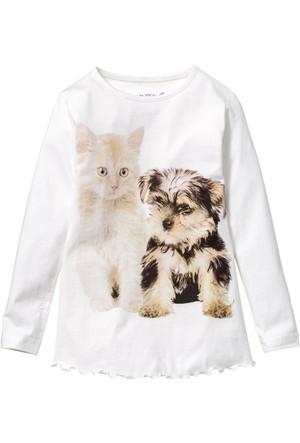 Bpc Bonprix Collection - Beyaz Baskılı Uzun Kol T-Shirt