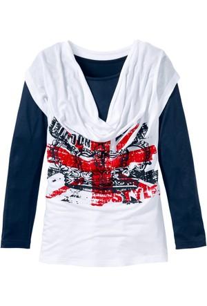Bpc Bonprix Collection - Beyaz Şal Yakalı Uzun Kollu T-Shirt