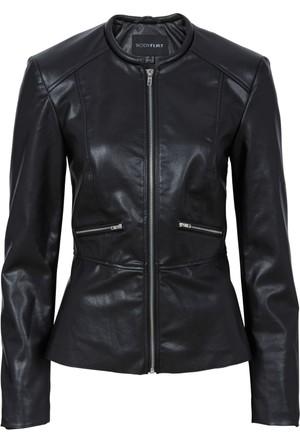 Bodyflirt Siyah Suni Deri Peplum Ceket