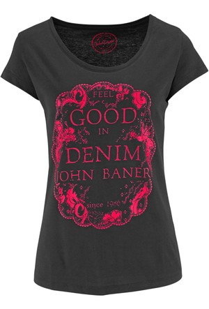 John Baner Jeanswear Siyah Kısa Kollu Baskılı T-Shirt