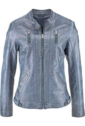 John Baner Jeanswear Mavi Yıkanmış Görünümde Suni Deri Ceket
