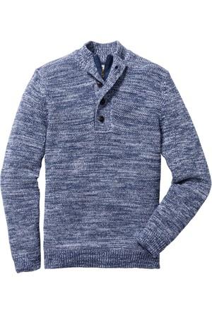 John Baner Jeanswear Mavi Düğmeli Kazak Regular Fit