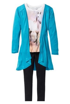 Bpc Bonprix Collection - Mavi T-Shirt Hırka + Tayt (3 Parça)