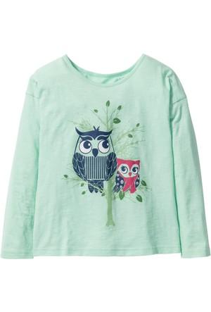 Bpc Bonprix Collection - Yeşil Baskılı Uzun Kol T-Shirt