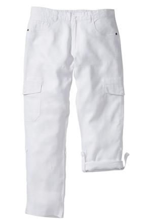 Bpc Bonprix Collection - Beyaz Paçası Katlanan Keten Kargo Pantolon Regular Fit
